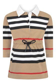 Baby Girls Beige Icon Stripe Cotton Dress