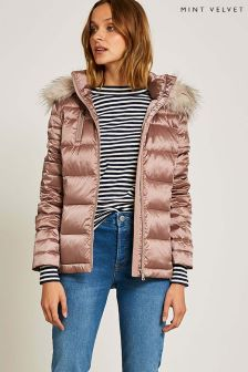 Mint Velvet Pink Quilted Light Parka