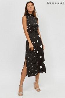 Czarna sukienka z rozcietym dołem Warehouse, z motywem kropek różnej wielkości