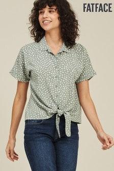 FatFace Green Cali Double Spot Tie Shirt