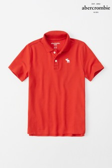Abercrombie & Fitch Red Short Sleeve Poloshirt
