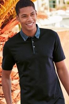 Printed Woven Collar Polo