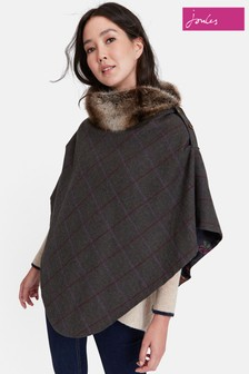 Joules Green Check Tweed Poncho