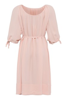 French Connection Pink Ezmiya Crepe Solid 3/4 Sleeve Dress