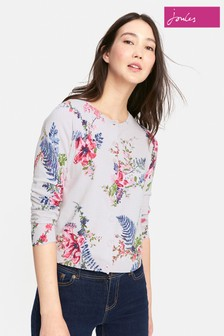 Joules Silver Floral Skye Basic Cardigan