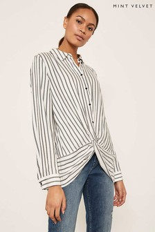 Mint Velvet White Twist Front Stripe Shirt