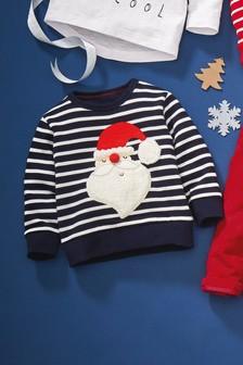 Джемпер в полоску с вырезом под горло и рисунком Санта-Клауса (3 мес.-6 лет)