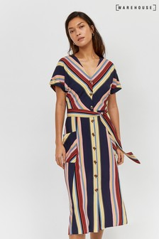 Warehouse Black Georgia Stripe Midi Dress