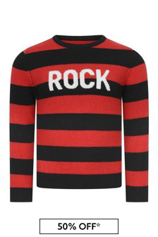 Boys Red Striped Wool & Cashmere Sweater