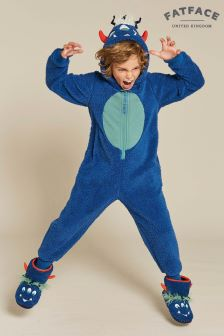 FatFace Blue Freddie Monster Fleece All-In-One