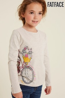 FatFace Natural Bunny Bicycle T-Shirt