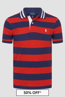 Ralph Lauren Kids Boys Red Striped Cotton Polo Top