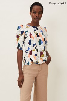 Phase Eight White Torrie Print Top