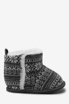 Warm Lined Fairisle Pattern Pram Boots (0-24mths)
