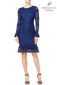 Adrianna Papell Blue Knit Lace Sheath Dress