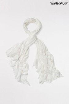 Écharpe plissée White Stuff blanche à feuille argentéeDreaming Away