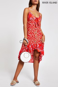 River Island Red Ditsy Print Midi Button Dress