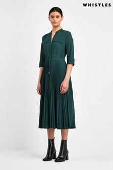 Whistles Green Pleat Recycled Polyester Dress