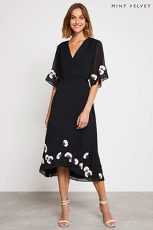 Mint Velvet Black Embroidered Floral Wrap Dress