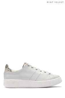 Mint Velvet White Andi Snake Leather Chunky Sole Trainer
