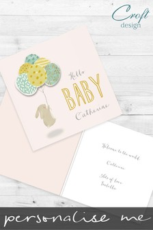 Personalised Bunny New Baby Card by Croft Designs
