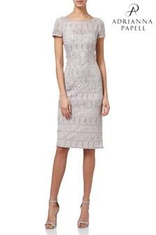 Adrianna Pappel Grey Beaded Short Dress