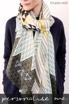 Personalised Geometric Trinity Scarf by Studio Hop