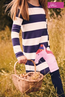 Joules Navy Stripe Horse Print Dress