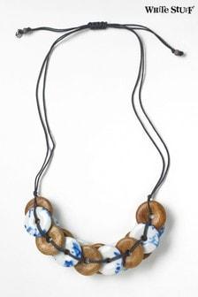 White Stuff Denim Woven Hoop Ceramic Necklace