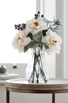 Artificial Roses In Glass Vase
