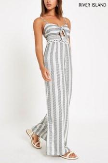 River Island Cream Stripe Embellished Waist Jumpsuit