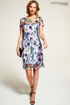 HotSquash Lilac Embroidered Cap Sleeve Party Dress