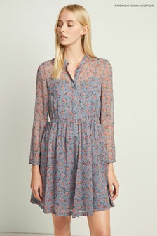 French Connection Blue Fifine Crinkle Shirt Dress