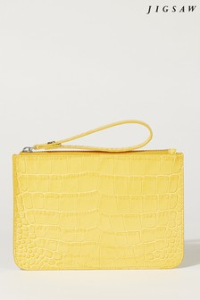 Jigsaw Yellow Nova Croc Leather Clutch