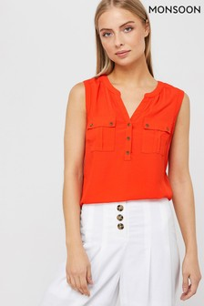Monsoon Ladies Orange Winslet Woven Front Sleeveless Top