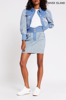 River Island Blue Bouclé Denim Mix Skirt