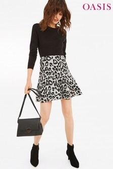 Oasis Grey Jasmine Animal Flippy Skirt