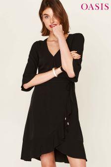 Oasis Black Ruffle Front Tea Dress