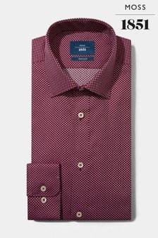 Moss 1851 Tailored Fit Berry Single Cuff Dobby Spot Shirt