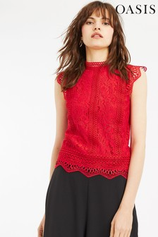 Oasis Red Scalloped Hem Lace Top