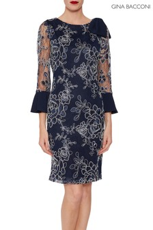 Gina Bacconi Blue Melina Embroidered Dress