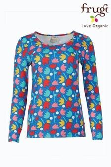 Frugi Blue Lotus Bloom Organic Cotton Long Sleeve Top