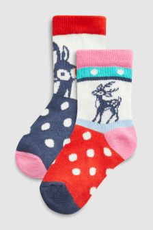 Reindeer Christmas Socks Two Pack (Younger)