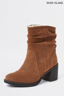 River Island Tan Slouch Heel Boot
