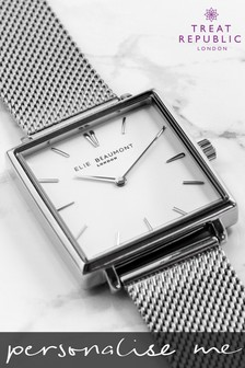 Personalised Women's Silver Metallic Square Watch by Treat Republic