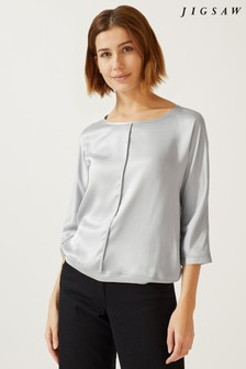 Jigsaw Silk Front Batwing Top