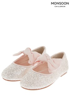 Monsoon Baby Pale Pink Bridget Glitter Bow Ballerina