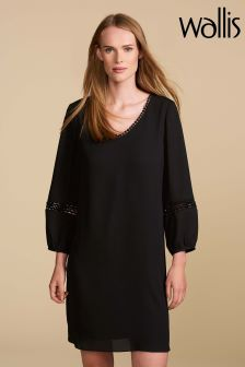 Wallis Petite Black Crochet Swing Dress