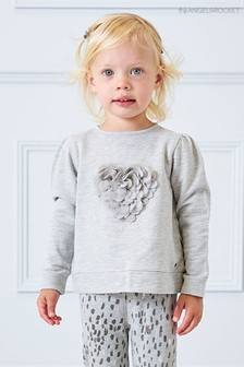 Angel & Rocket Grey Frill Heart Top