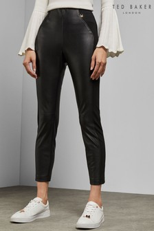 56227c587 Ted Baker Black Priala Panel Ankle Grazer PU Legging